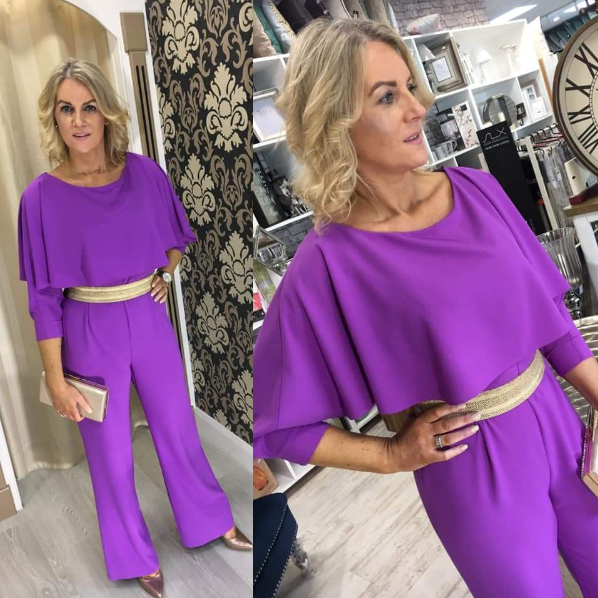Purple Jumpsuit with Gold Belt Detail