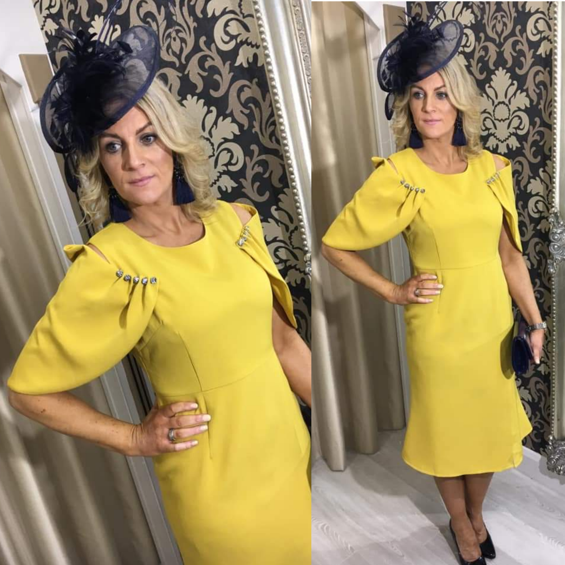 Mustard Dress with Pearl Winged Sleeve Detail